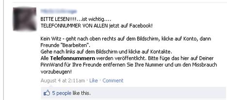 Telefonnummer Facebook